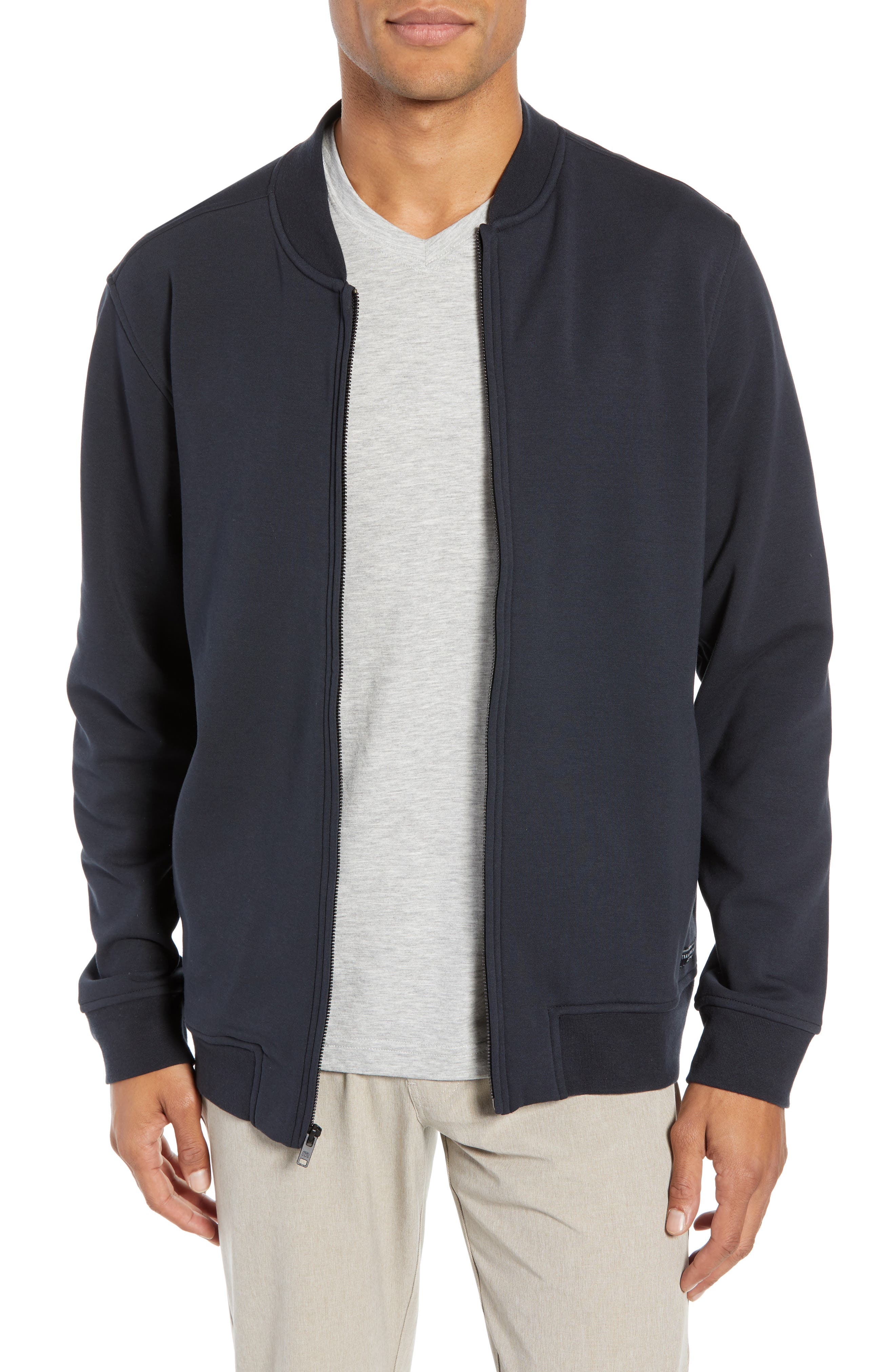 Cavalry Knit Bomber Jacket, Main, color, BLACK
