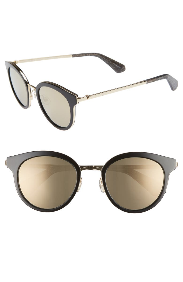 KATE SPADE NEW YORK lisanne 50mm special fit round sunglasses, Main, color, BLACK