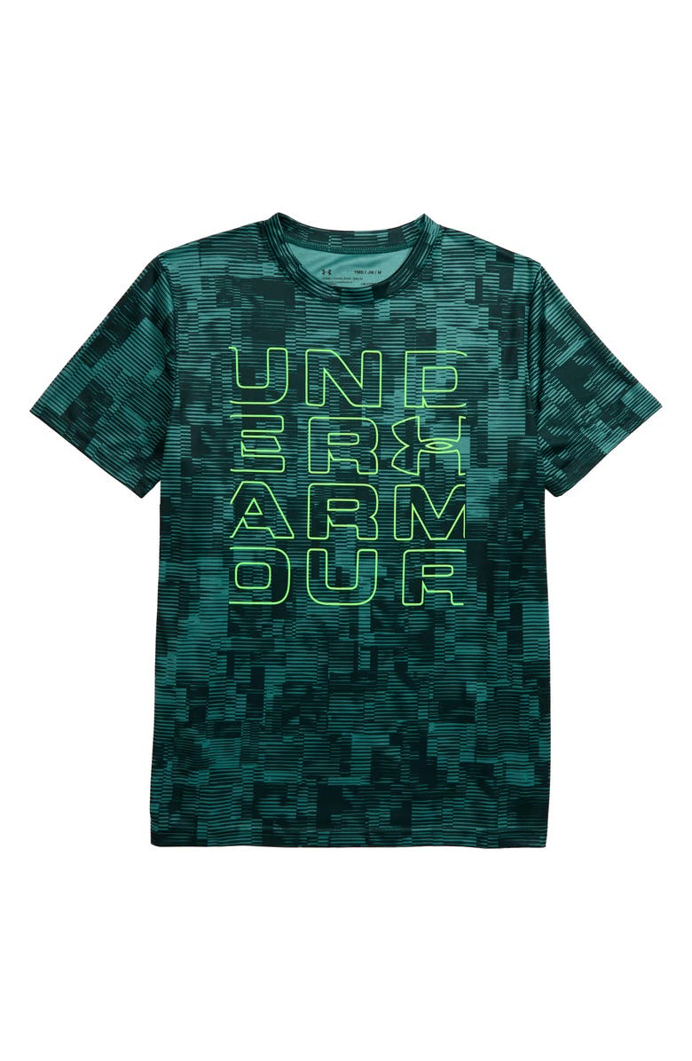 UNDER ARMOUR Stacked Wordmark T-Shirt, Main, color, DUST/ ZAP GREEN