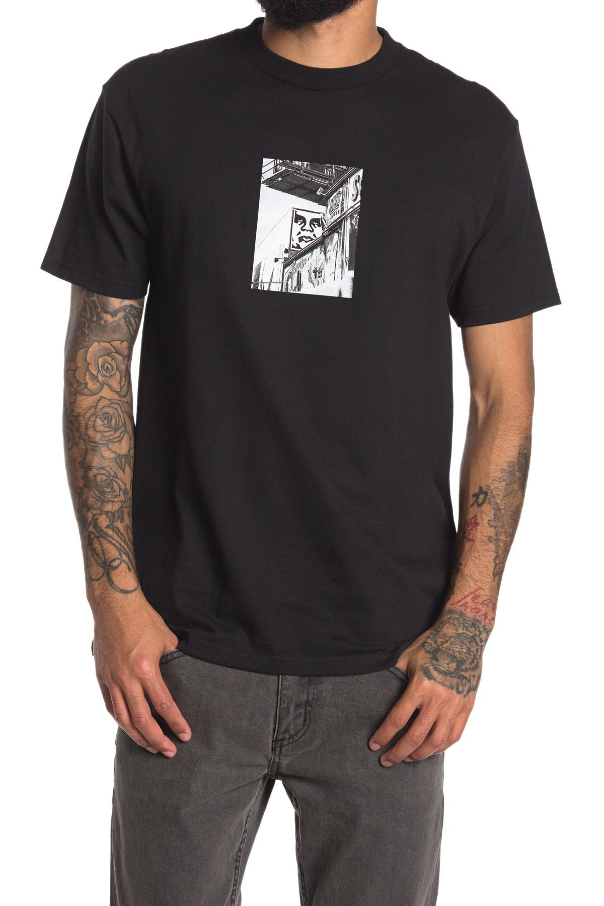 Image of Obey Street Scene Graphic T-Shirt