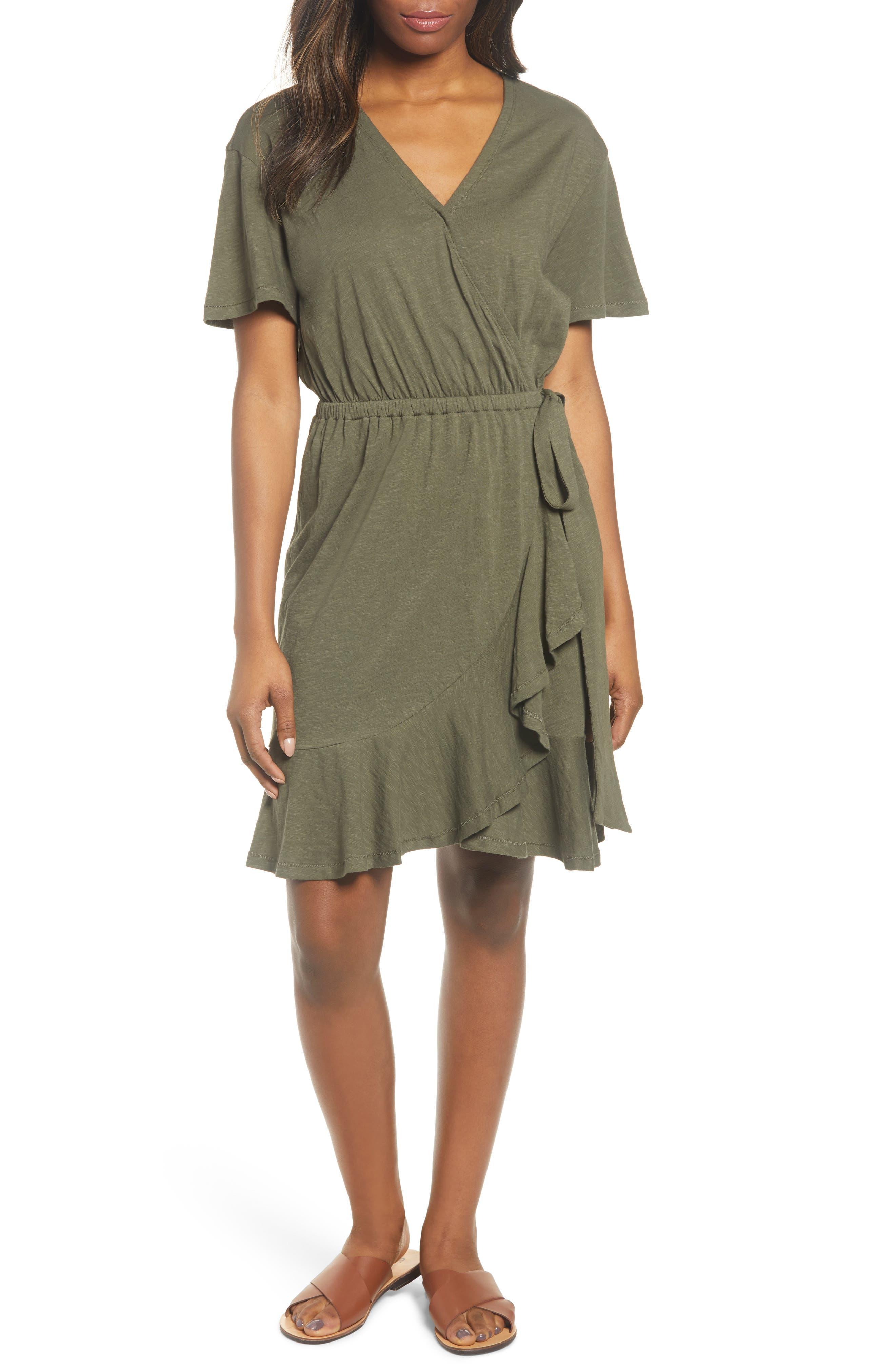 Caslon Asymmetrical Hem Faux Wrap Dress, Green