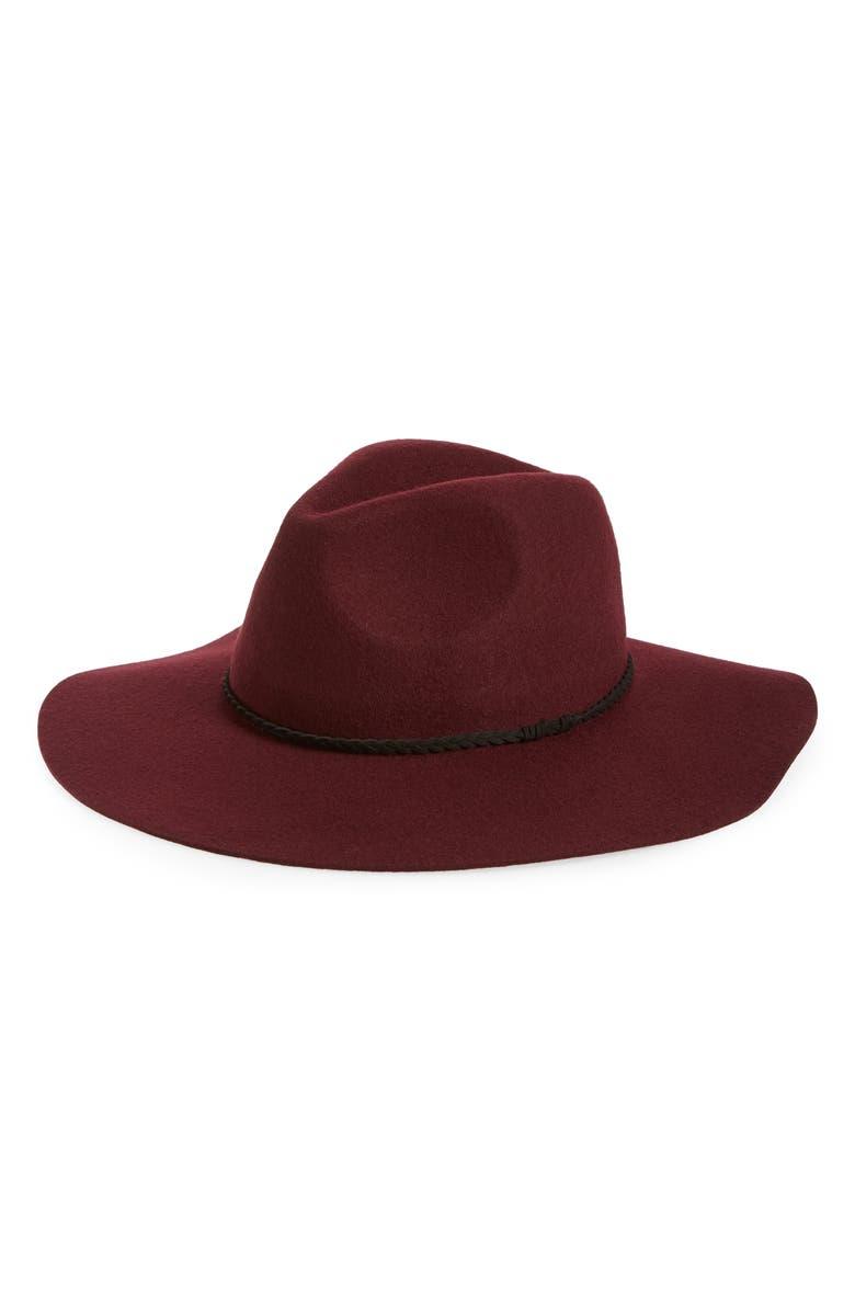 BP. Wide Brim Felt Panama Hat, Main, color, BURGUNDY FIG