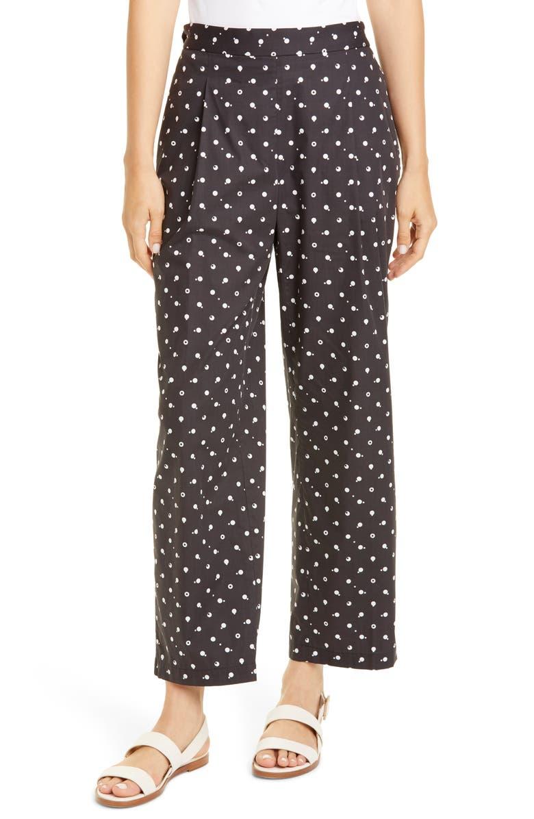ROSETTA GETTY Bauhaus Dot Print Cotton Poplin Crop Pants, Main, color, BLACK/ WHITE
