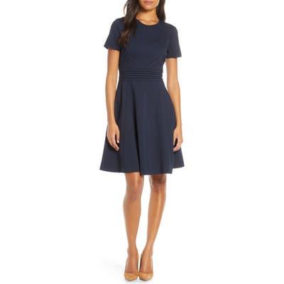 Petite Harper Rose Short Sleeve Fit & Flare Dress, Blue