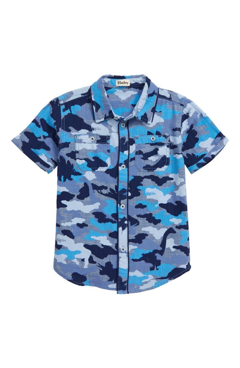 HATLEY Dino Camo Woven Short Sleeve Shirt, Main, color, BLUE