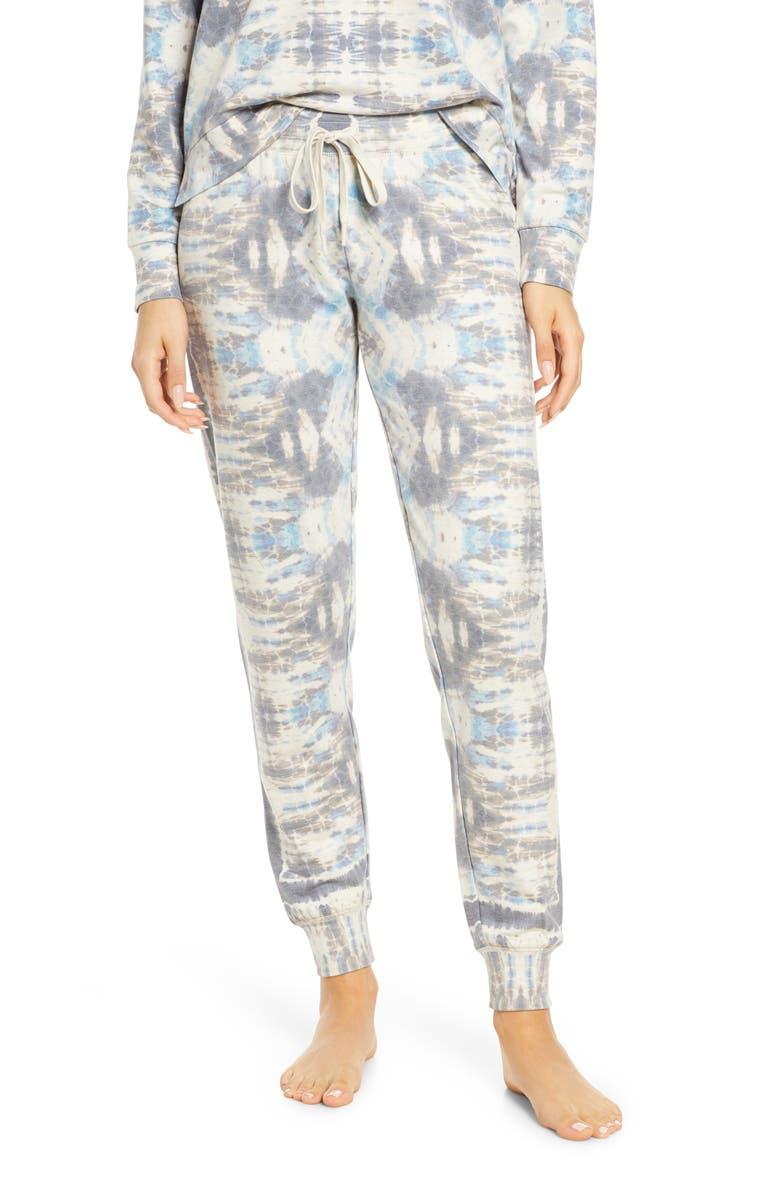 PJ SALVAGE Tie Dye Days Lounge Jogger Pants, Main, color, OATMEAL