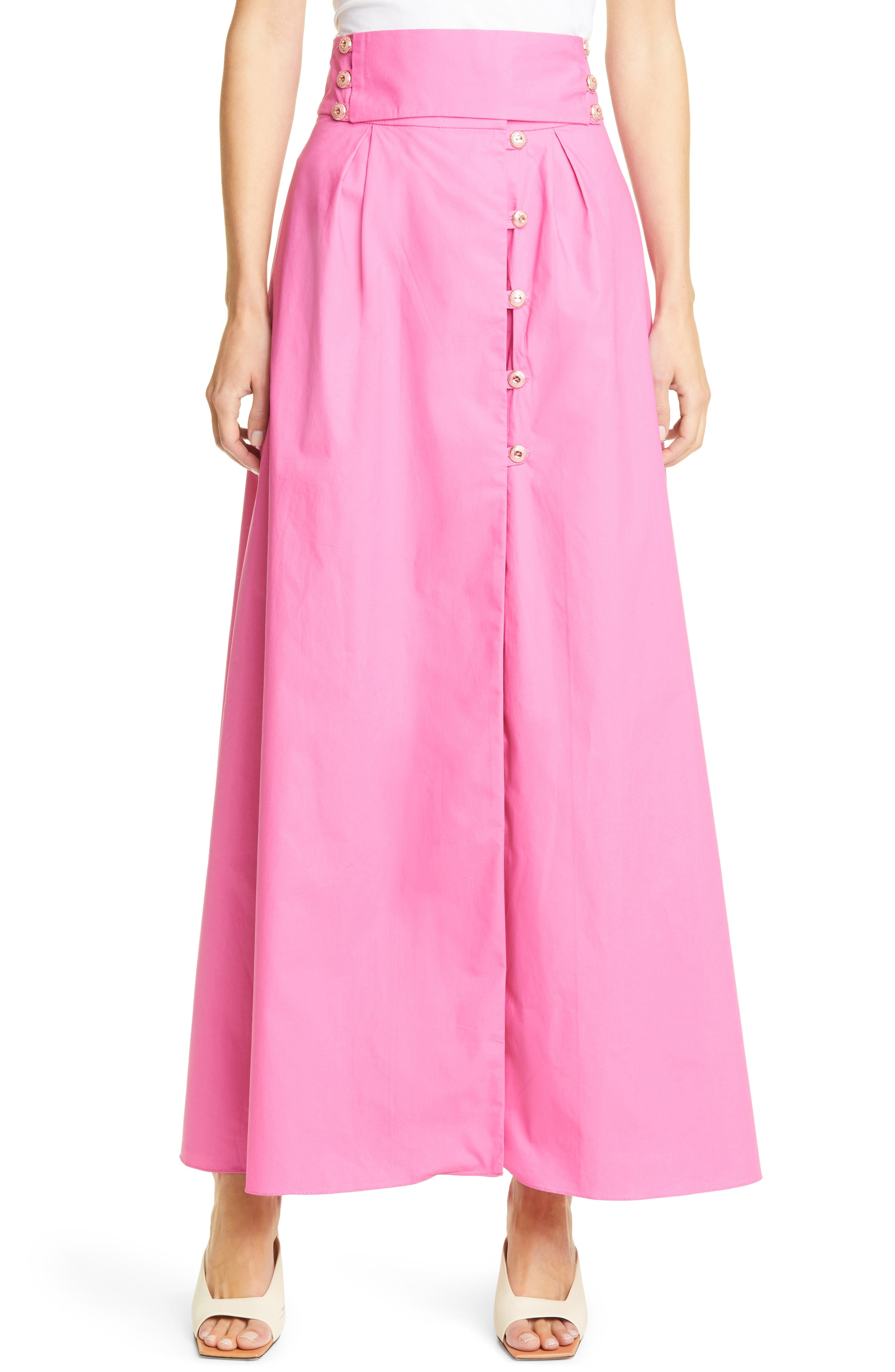 Solid Cotton Maxi Skirt
