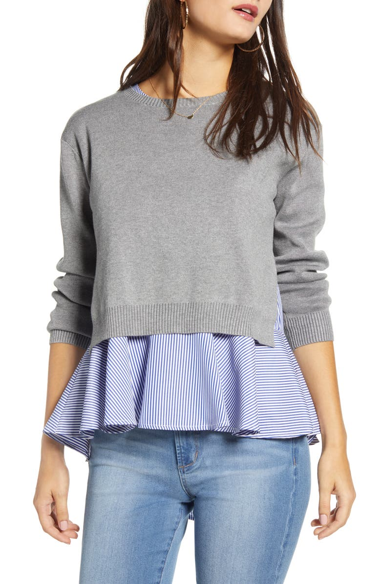 ENGLISH FACTORY Layered Back Slit Stripe Top & Sweater, Main, color, GREY/ BLUE STRIPE