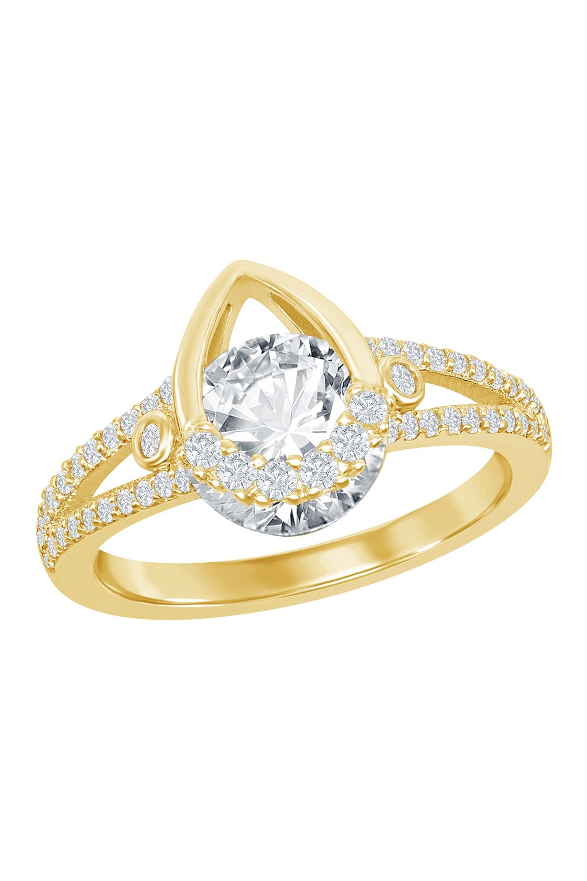 Image of Simona Jewelry Gold Plated Sterling Silver Pear Shaped Ring