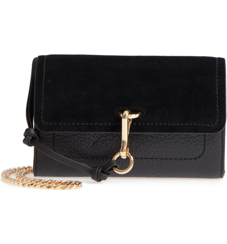 VINCE CAMUTO Blena Leather & Suede Clutch, Main, color, 001