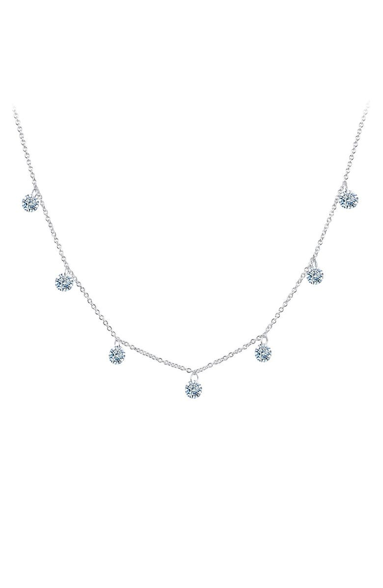 LAFONN Lassaire In Motion Frameless Raindrop Necklace, Main, color, SILVER