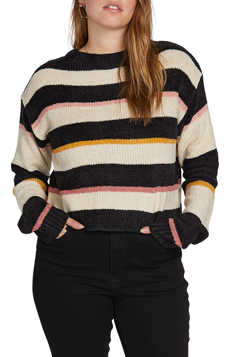 VOLCOM Madame Shady Chenille Sweater, Main, color, BLACK COMBO