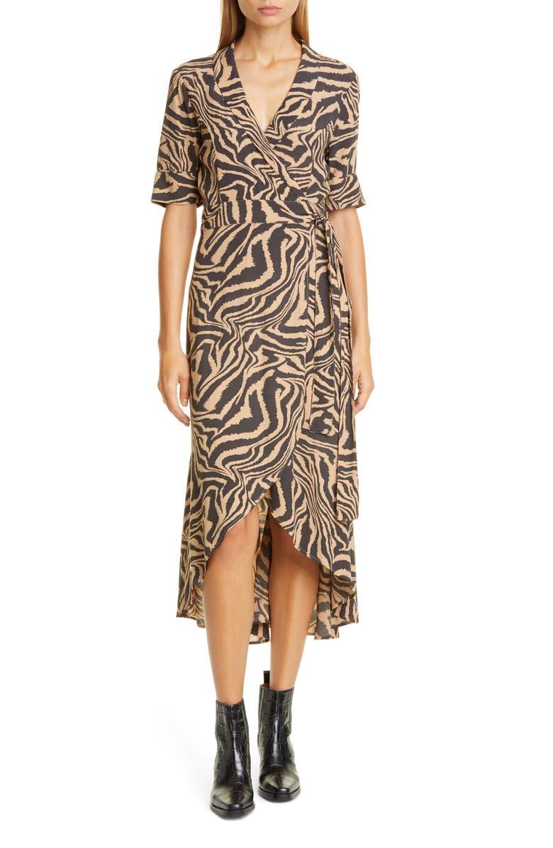 GANNI Tiger Stripe Print Wrap Midi Dress, Main, color, TANNIN