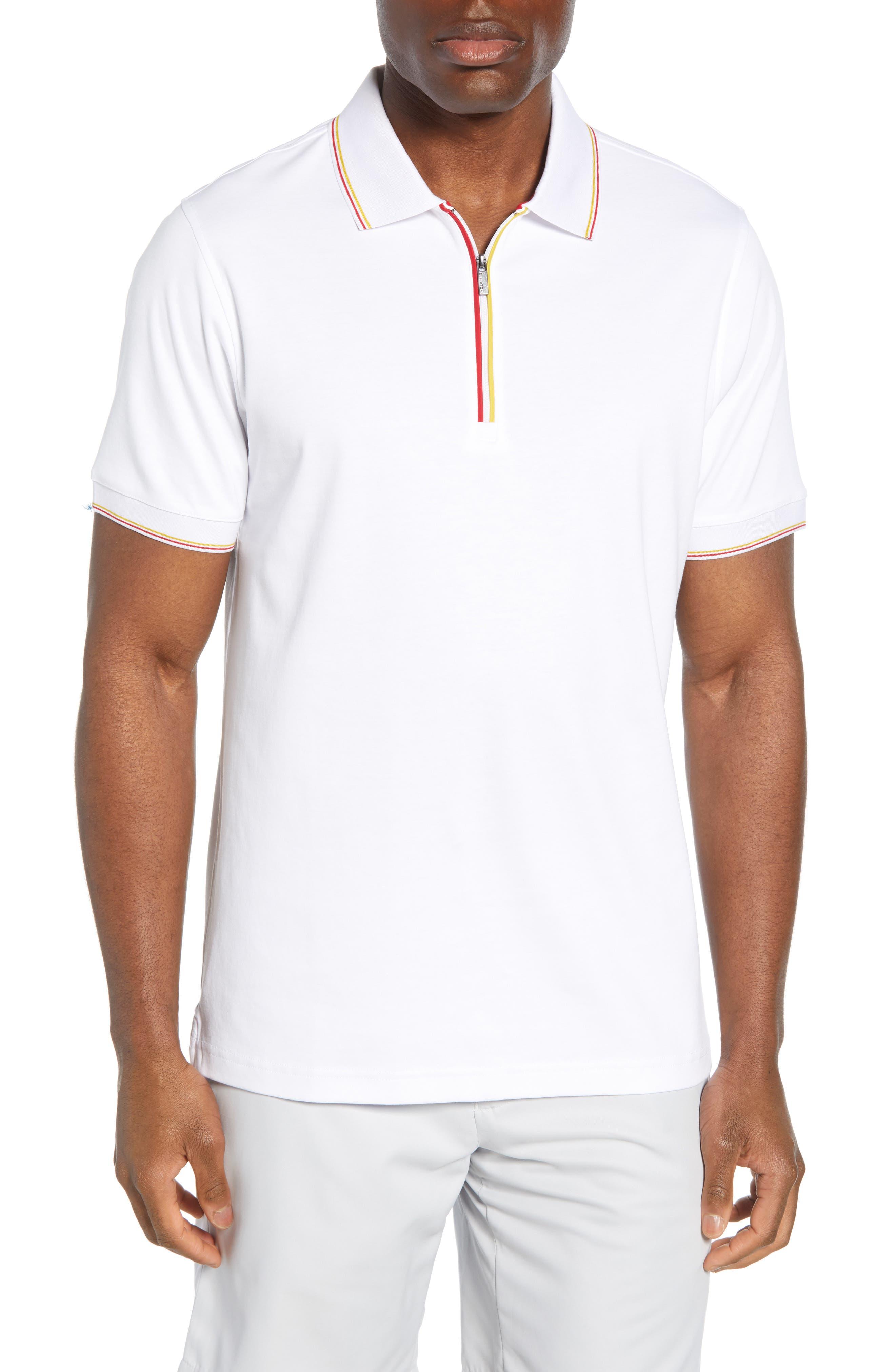 men's bugatchi regular fit pima cotton zip polo, size x-large - white