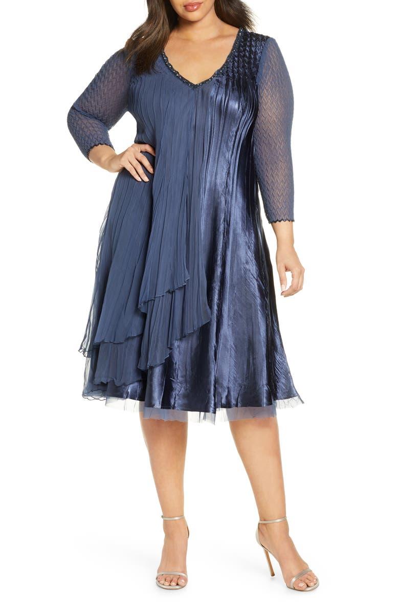 KOMAROV Beaded Chiffon & Charmeuse A-Line Dress, Main, color, ECLIPSE