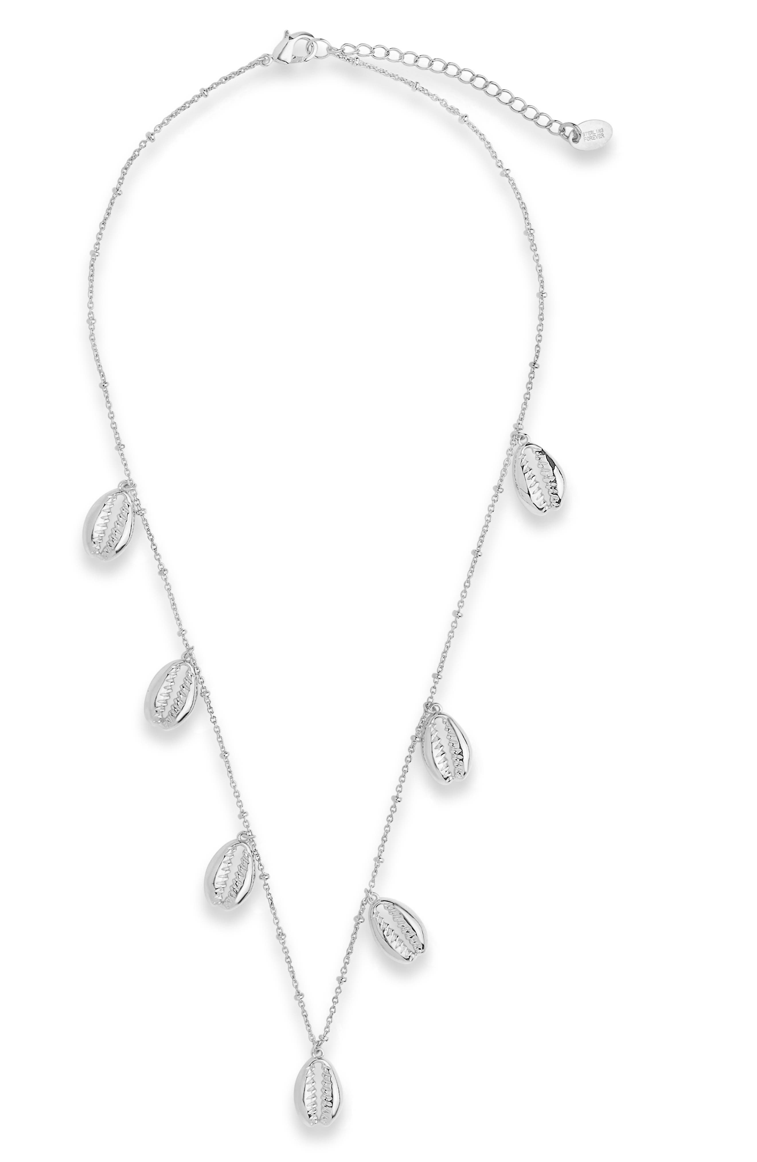 In this fun-to-wear necklace, gleaming charms invoke beachy memories of the puka shell necklace you bought on that childhood island vacation. Style Name: Sterling Forever Puka Shell Charm Necklace. Style Number: 6114412. Available in stores.