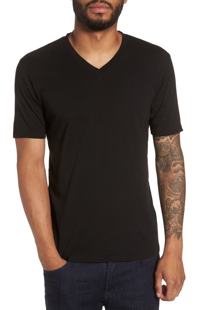 GOODLIFE Classic Supima Cotton Blend V-Neck T-Shirt, Main, color, BLACK