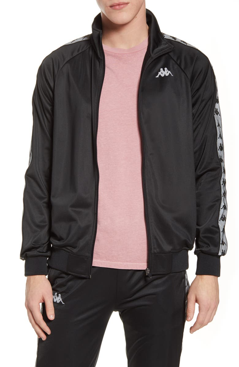 KAPPA 222 Banda Joseph Track Jacket, Main, color, BLACK-GREY REFLECTIVE