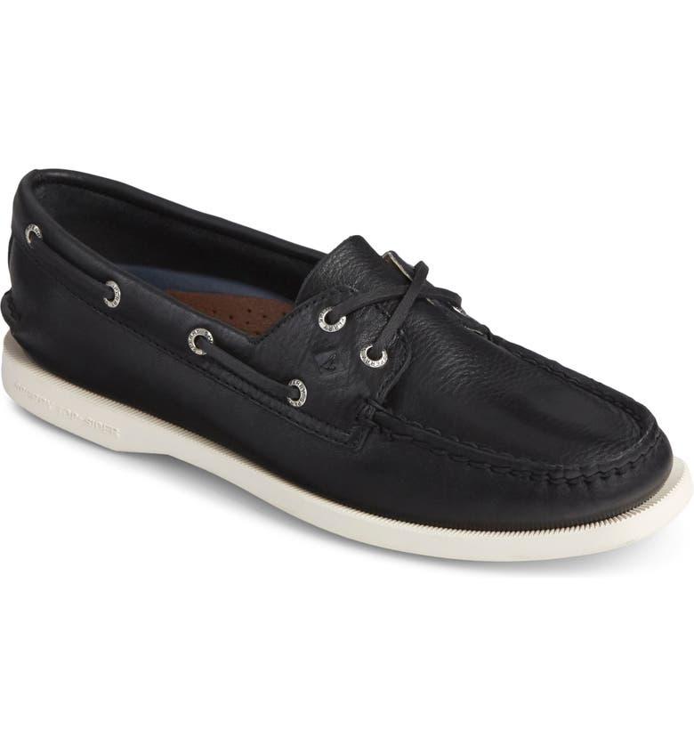 SPERRY 'Authentic Original' Boat Shoe, Main, color, BLACK/ BLACK LEATHER