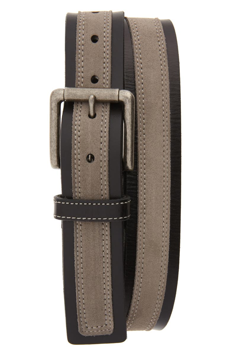 JOHNSTON & MURPHY Suede Overlay Belt, Main, color, BLACK/GRAY