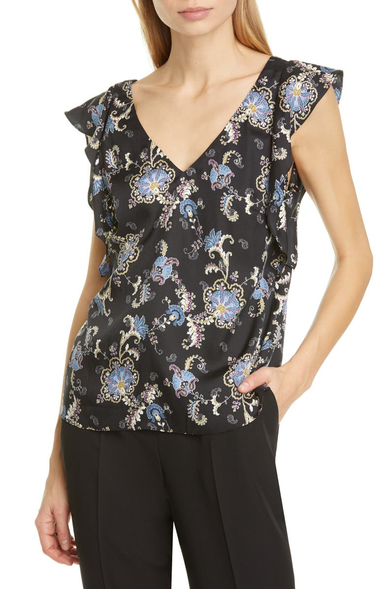 REBECCA TAYLOR Ruffle Sleeveless Paisley Silk Blend Top, Main, color, 014