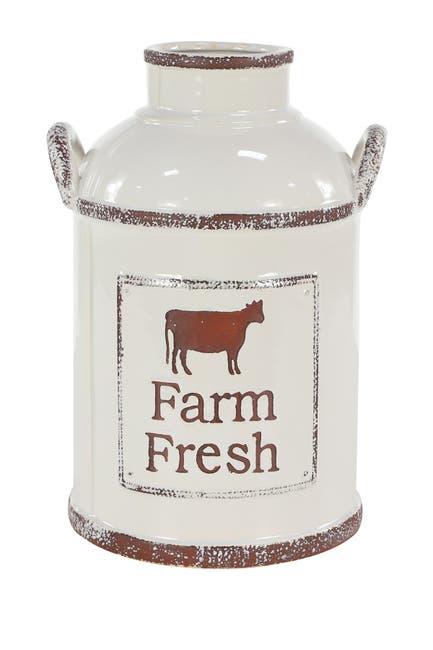 Image of Willow Row Farmhouse Decor Extra Large Cylinder Handled Ceramic Vase