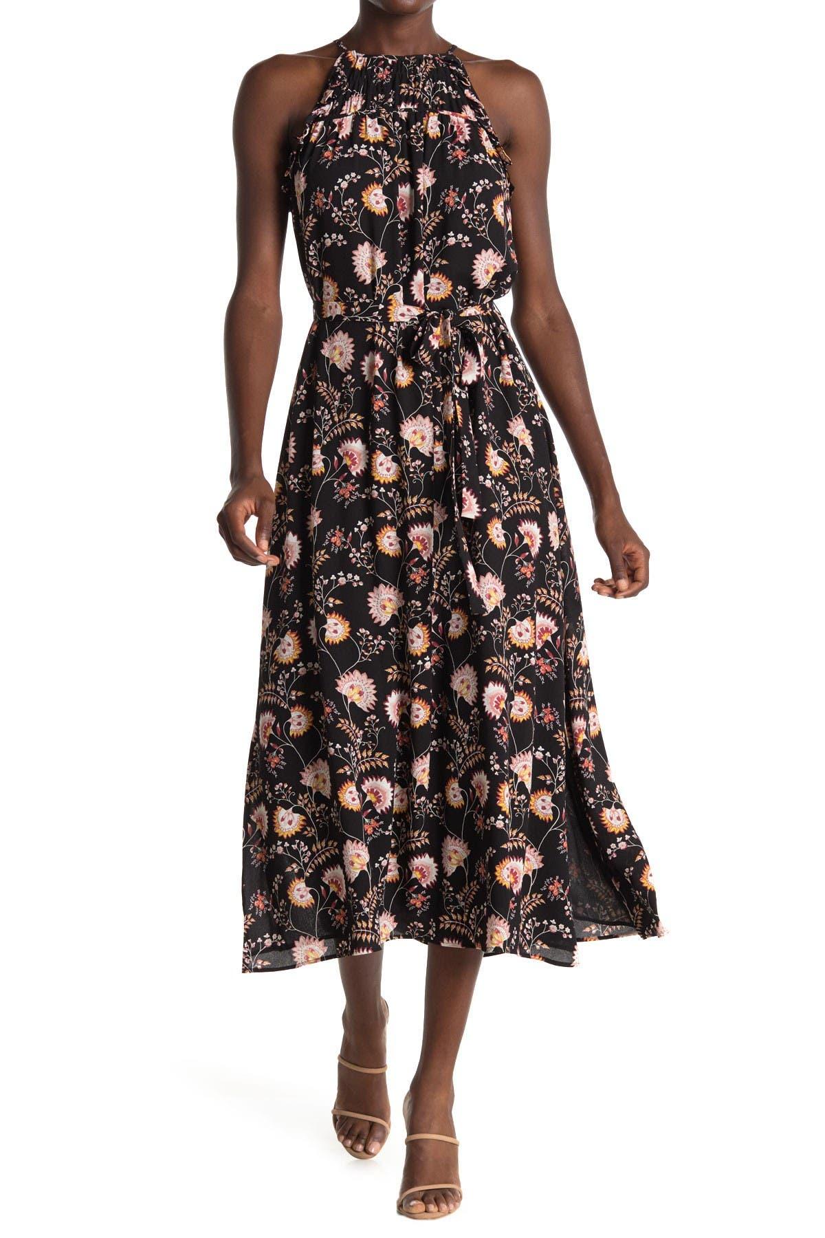 Image of 1.State Floral Halter Neck Tie Waist Midi Dress