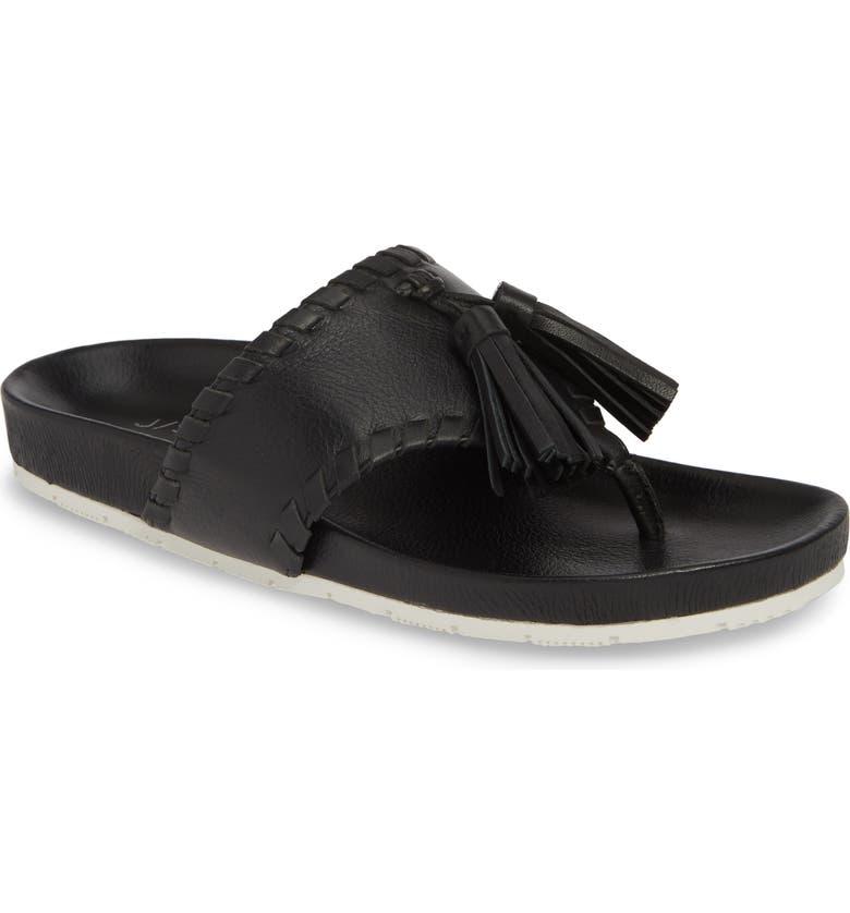 JSLIDES Nigel Tassel Slide Sandal, Main, color, BLACK LEATHER