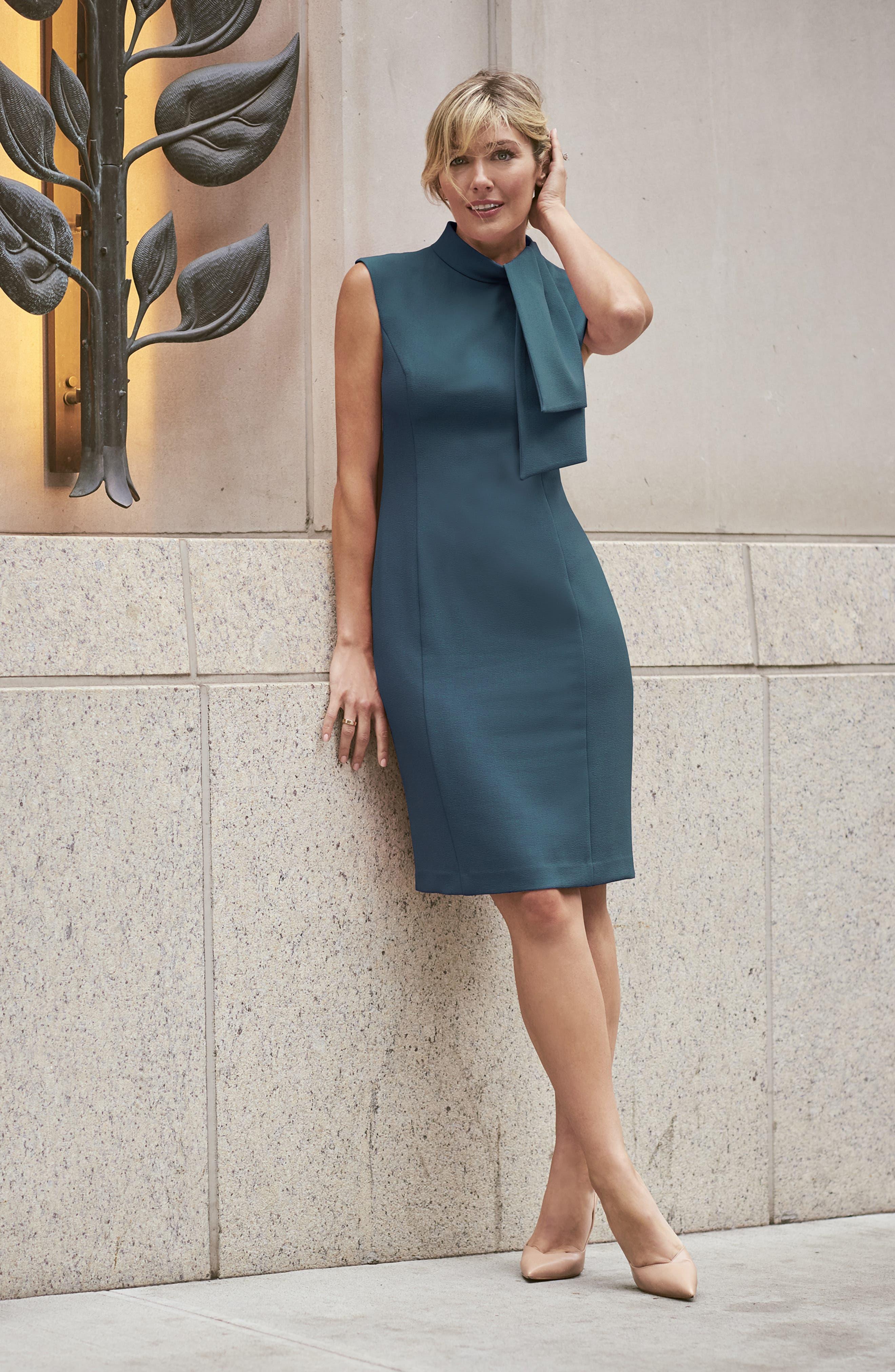 ,                             Tie Neck Sheath Dress,                             Alternate thumbnail 8, color,                             PEACOCK