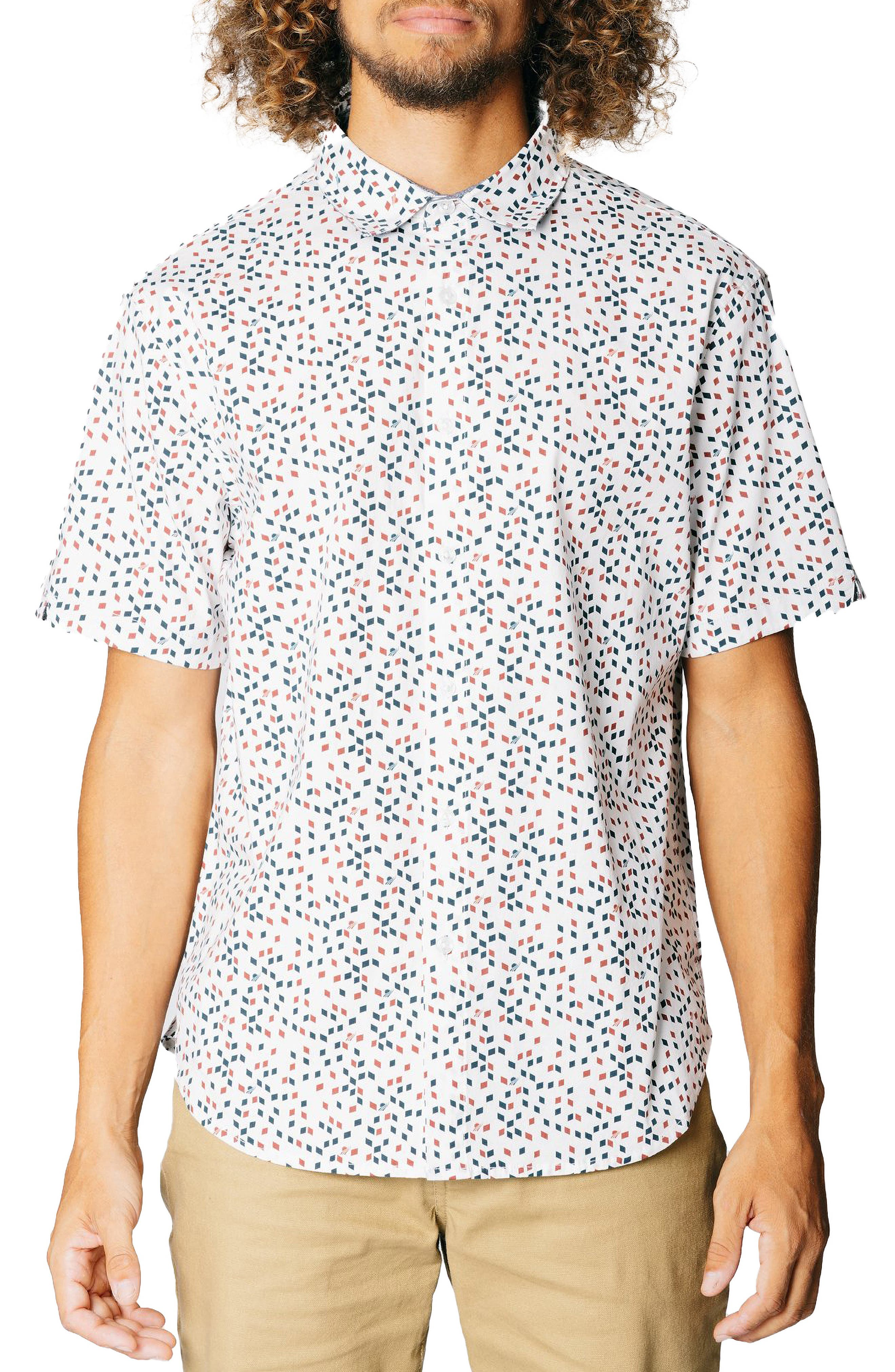 Vintage Geo Print Stretch Short Sleeve Button-Up Shirt