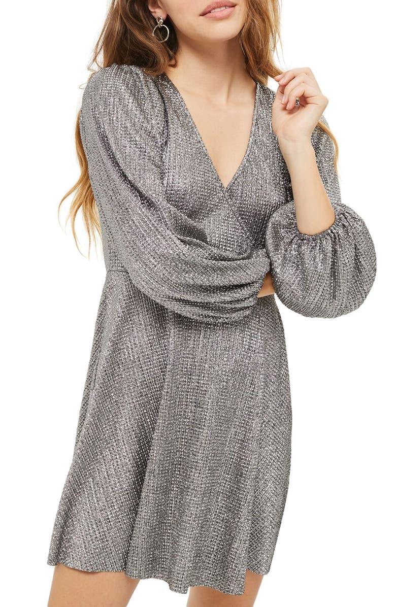 TOPSHOP Metallic Plissé Surplice Dress, Main, color, 040
