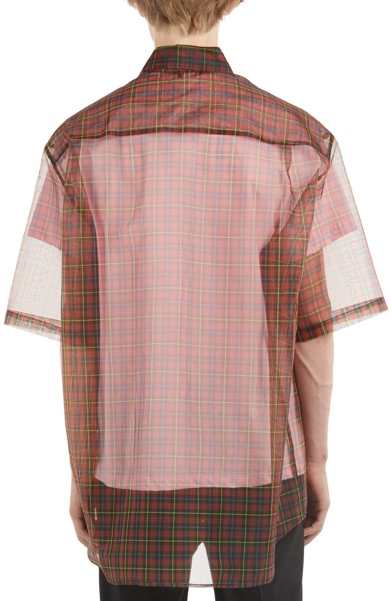 ,                             Sheer Plaid Shirt with T-Shirt,                             Alternate thumbnail 2, color,                             RED