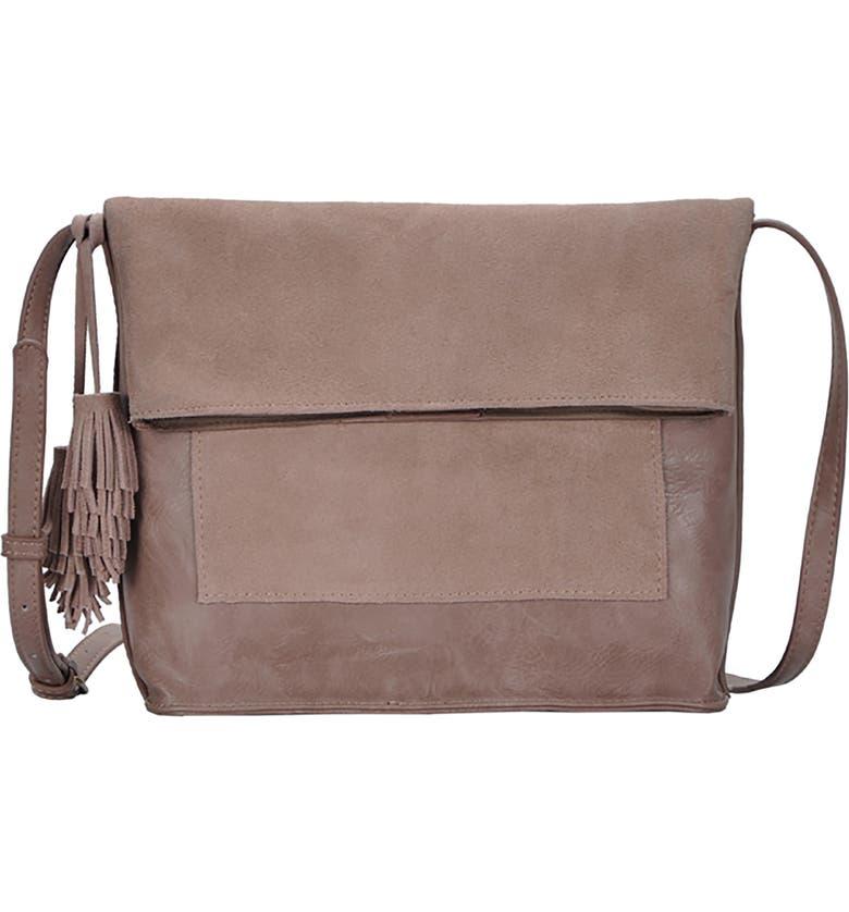 ANTIK KRAFT Suede Crossbody Bag, Main, color, MAUVE