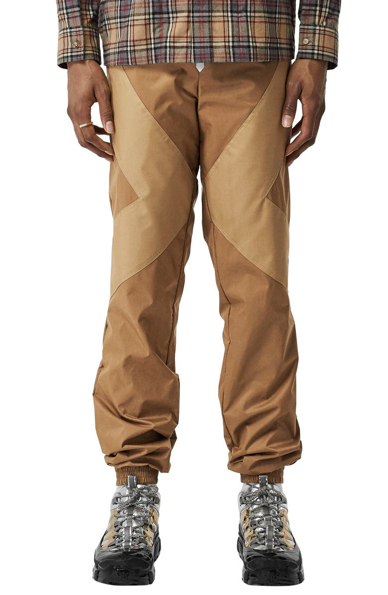 BURBERRY Two-Tone Coated Nylon Track Pants, Main, color, BROWN