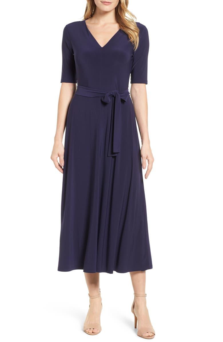 CHAUS Lisa Tie Waist Dress, Main, color, 529-EVENING NAVY