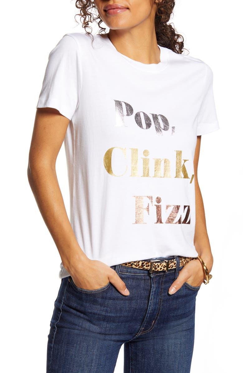 1901 Pop Clink Fizz Graphic Cotton Blend Tee, Main, color, WHITE MULTI POP CLINK FIZZ