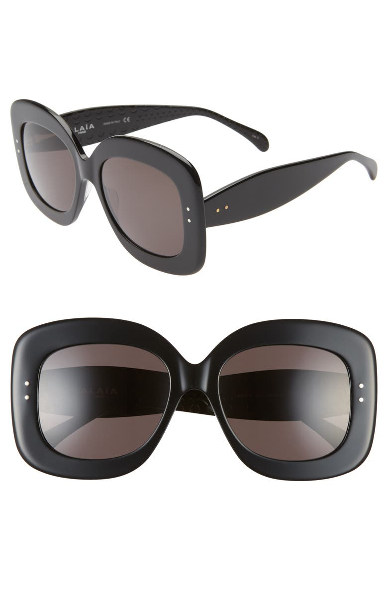 ALAÏA 54mm Square Sunglasses, Main, color, BLACK