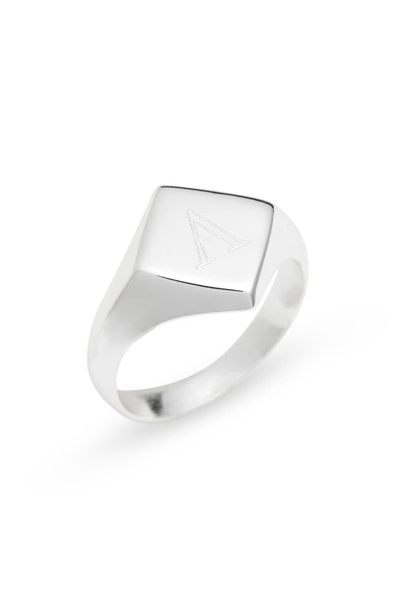 ARGENTO VIVO STERLING SILVER Argento Vivo Engraveable Rhombus Signet Ring, Main, color, SILVER