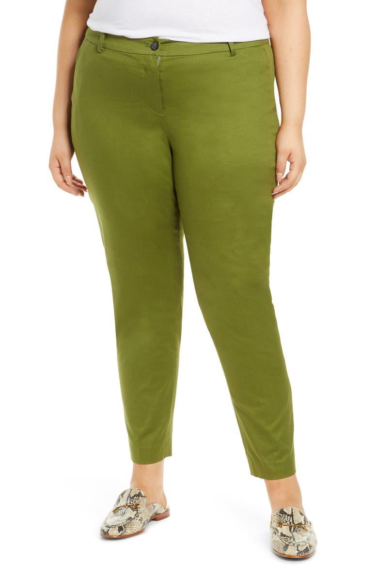 MICHAEL MICHAEL KORS Miranda Stretch Cotton Pants, Main, color, EVERGREEN