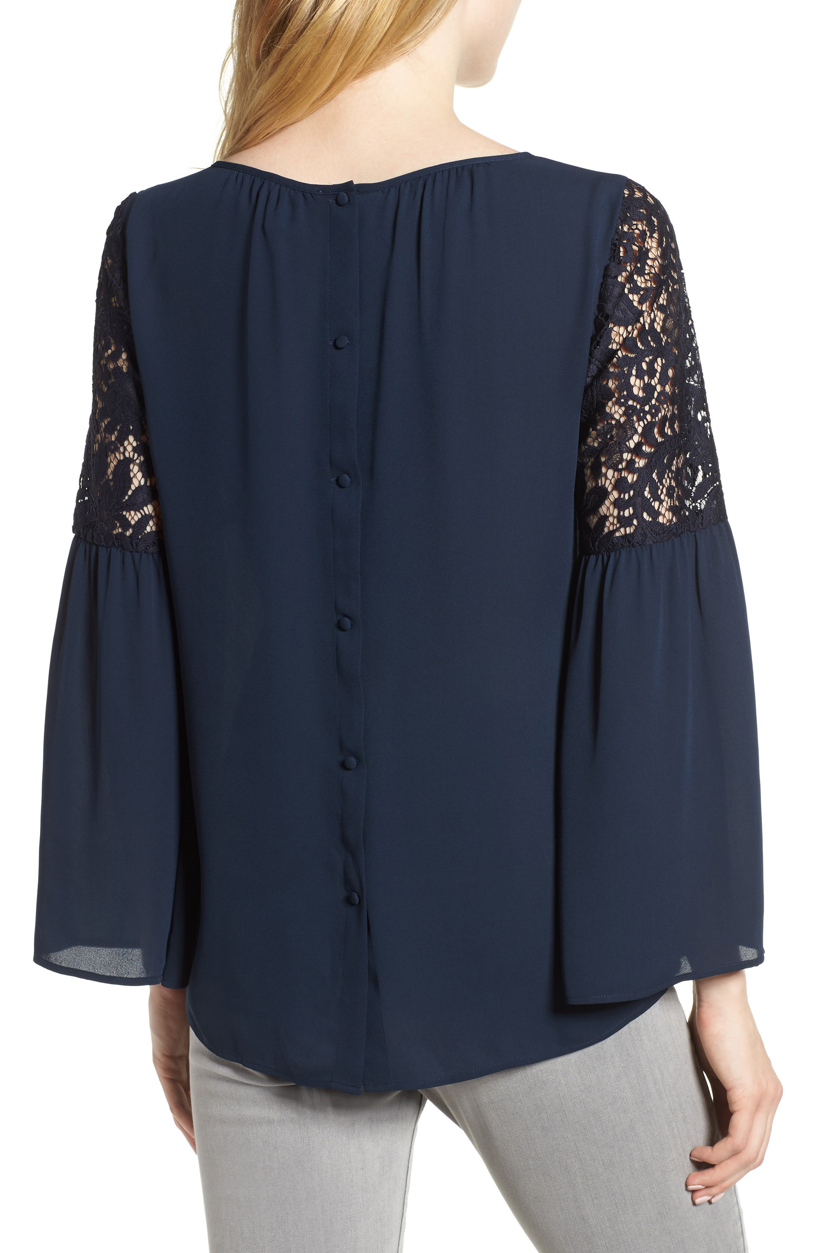 ,                             Lace Bell Sleeve Top,                             Alternate thumbnail 21, color,                             410