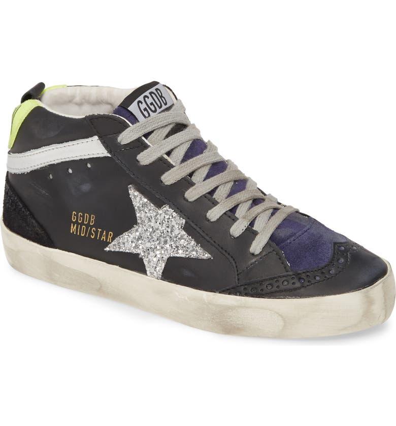 GOLDEN GOOSE Mid Star Sneaker, Main, color, BLACK LEATHER/ SILVER GLITTER