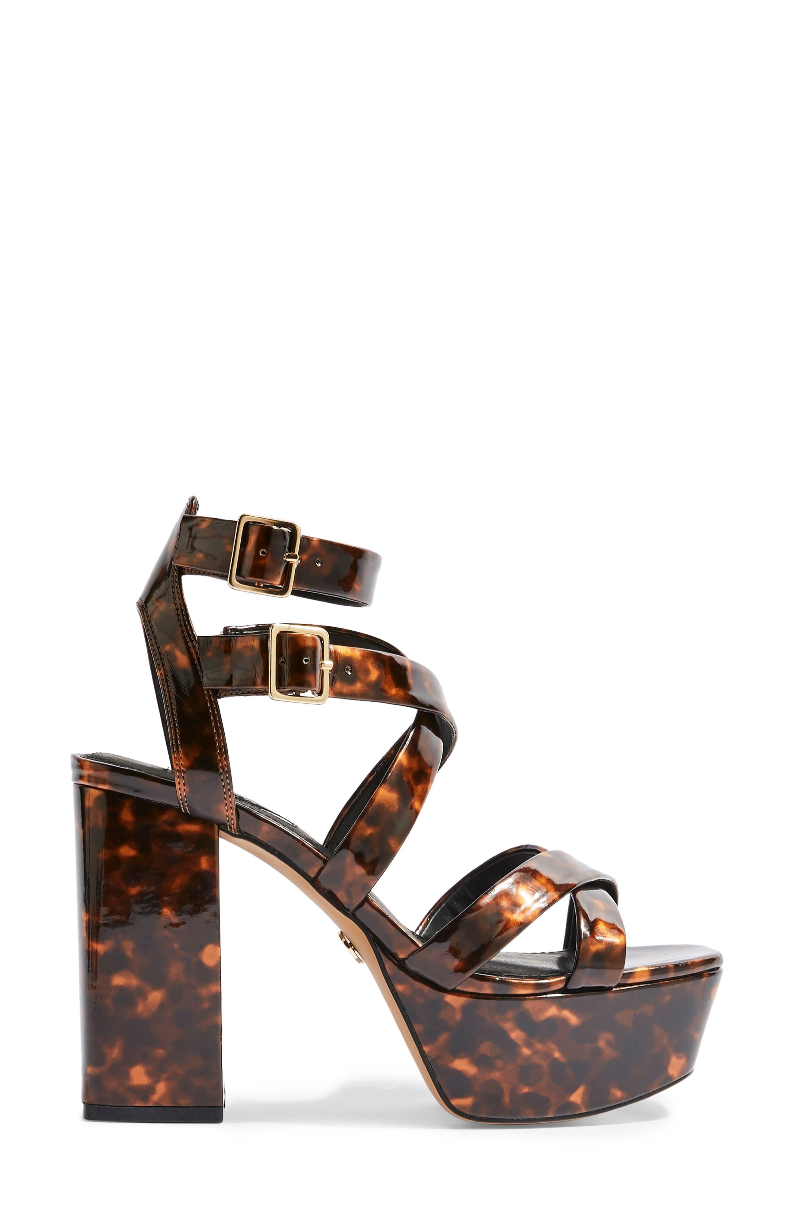 ,                             Radical Strappy Platform Sandal,                             Alternate thumbnail 3, color,                             BROWN MULTI