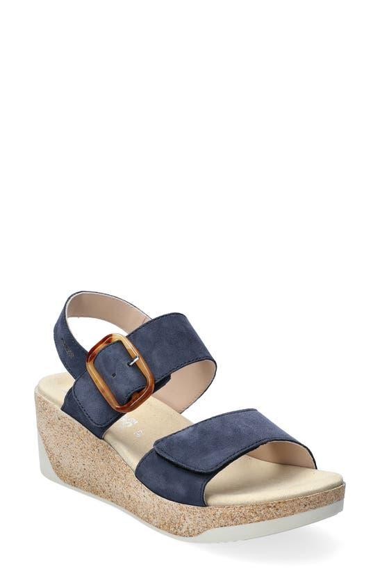 Mephisto Giulia Wedge Sandal In Jeans Blue