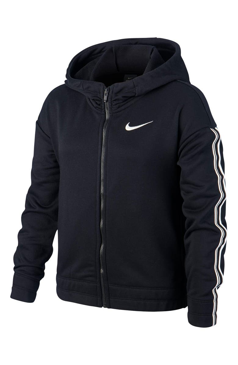 NIKE Dri-FIT Studio Zip Hoodie, Main, color, BLACK/ METALLIC SILVER