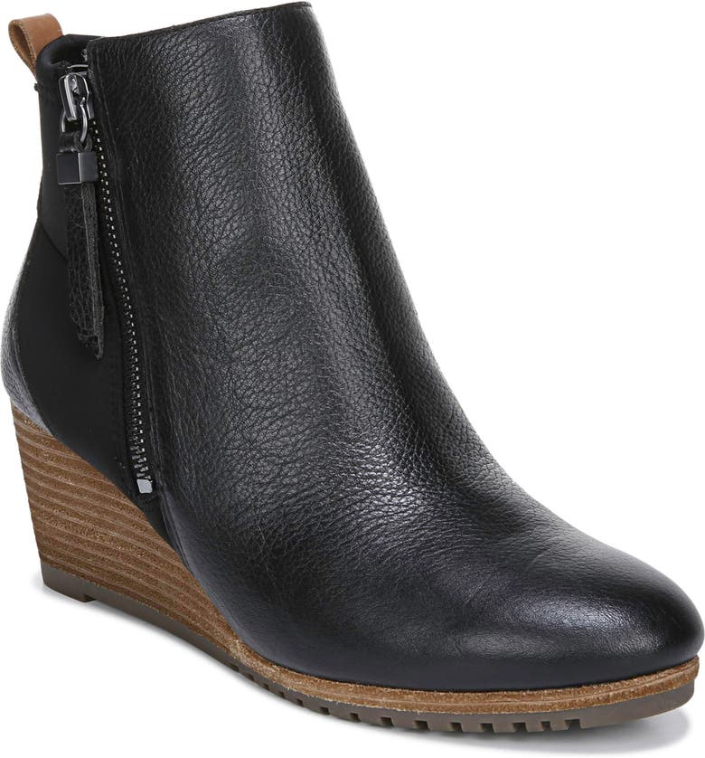 DR. SCHOLL'S Countdown Wedge Bootie, Main, color, BLACK LEATHER