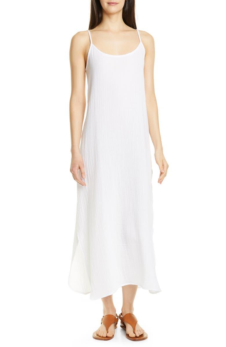 EILEEN FISHER Sleeveless Organic Cotton Maxi Dress, Main, color, WHITE