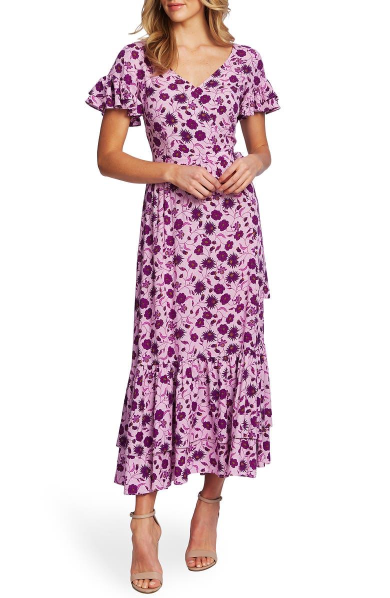 CECE Moroccan Tile Ruffle Trim Maxi Dress, Main, color, 534