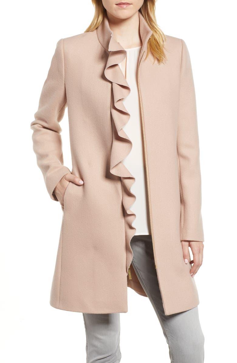 KENSIE Ruffle Twill Coat, Main, color, 698