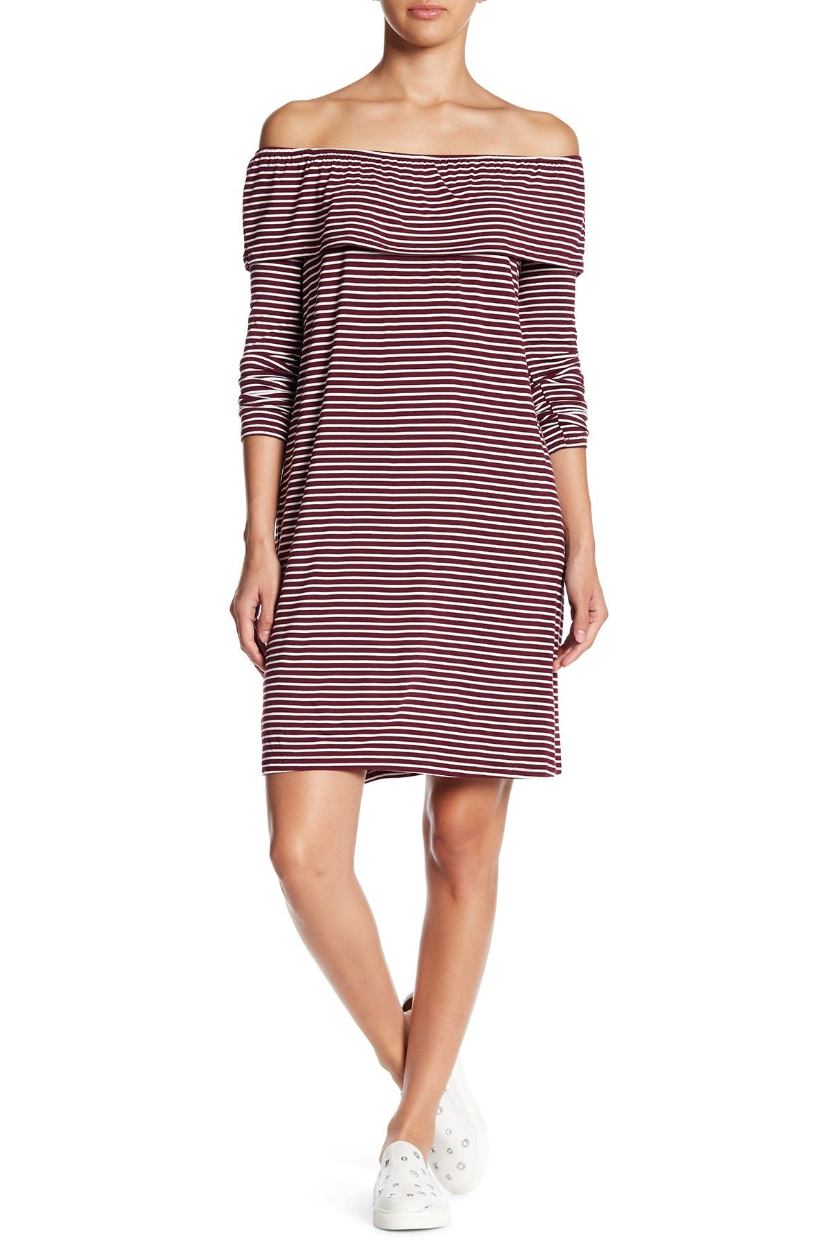 Image of Love, Fire Off-the-Shoulder Striped Print Dress