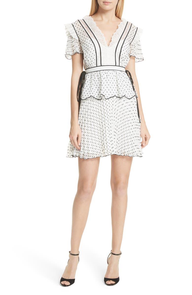 SELF-PORTRAIT Pleated Plumetis Dress, Main, color, 100